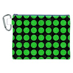 Circles1 Black Marble & Green Colored Pencil Canvas Cosmetic Bag (xxl)