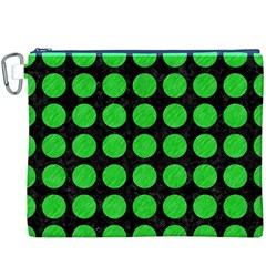 Circles1 Black Marble & Green Colored Pencil Canvas Cosmetic Bag (xxxl)