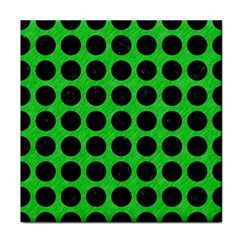 Circles1 Black Marble & Green Colored Pencil (r) Tile Coasters