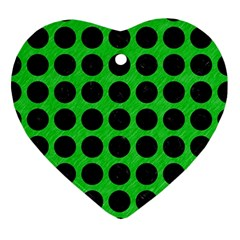Circles1 Black Marble & Green Colored Pencil (r) Ornament (heart)