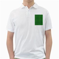 Circles1 Black Marble & Green Colored Pencil (r) Golf Shirts