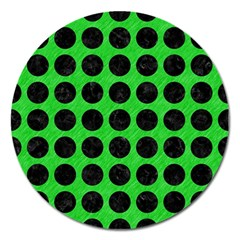 Circles1 Black Marble & Green Colored Pencil (r) Magnet 5  (round)
