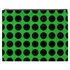 Circles1 Black Marble & Green Colored Pencil (r) Cosmetic Bag (xxxl)