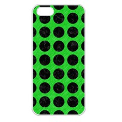 Circles1 Black Marble & Green Colored Pencil (r) Apple Iphone 5 Seamless Case (white)