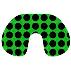Circles1 Black Marble & Green Colored Pencil (r) Travel Neck Pillows