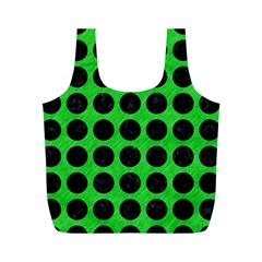 Circles1 Black Marble & Green Colored Pencil (r) Full Print Recycle Bags (m)