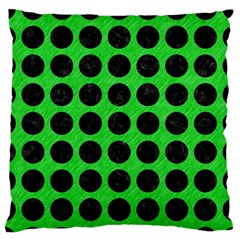 Circles1 Black Marble & Green Colored Pencil (r) Large Flano Cushion Case (one Side)