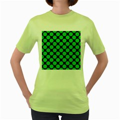 Circles2 Black Marble & Green Colored Pencil Women s Green T Shirt