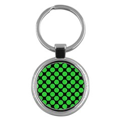 Circles2 Black Marble & Green Colored Pencil Key Chains (round)