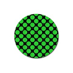 Circles2 Black Marble & Green Colored Pencil Magnet 3  (round)