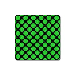 Circles2 Black Marble & Green Colored Pencil Square Magnet