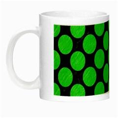 Circles2 Black Marble & Green Colored Pencil Night Luminous Mugs