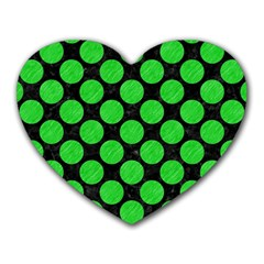 Circles2 Black Marble & Green Colored Pencil Heart Mousepads