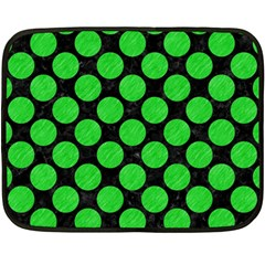 Circles2 Black Marble & Green Colored Pencil Double Sided Fleece Blanket (mini)