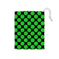 Circles2 Black Marble & Green Colored Pencil Drawstring Pouches (medium)