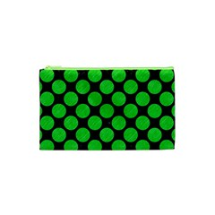 Circles2 Black Marble & Green Colored Pencil Cosmetic Bag (xs)