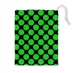 Circles2 Black Marble & Green Colored Pencil Drawstring Pouches (extra Large)