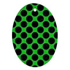 Circles2 Black Marble & Green Colored Pencil (r) Ornament (oval)