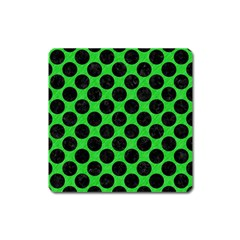 Circles2 Black Marble & Green Colored Pencil (r) Square Magnet