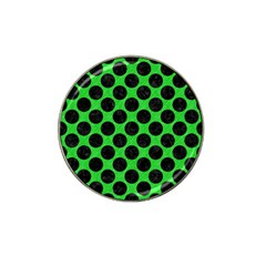 Circles2 Black Marble & Green Colored Pencil (r) Hat Clip Ball Marker