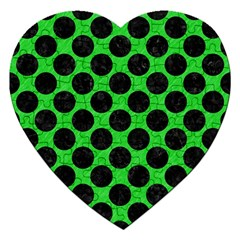 Circles2 Black Marble & Green Colored Pencil (r) Jigsaw Puzzle (heart)