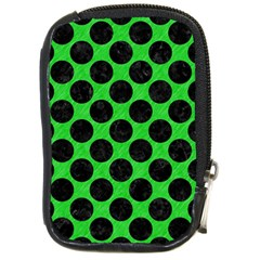 Circles2 Black Marble & Green Colored Pencil (r) Compact Camera Cases
