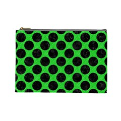 Circles2 Black Marble & Green Colored Pencil (r) Cosmetic Bag (large)