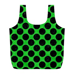 Circles2 Black Marble & Green Colored Pencil (r) Full Print Recycle Bags (l)