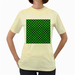 Circles3 Black Marble & Green Colored Pencil Women s Yellow T Shirt