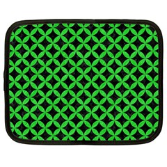 Circles3 Black Marble & Green Colored Pencil Netbook Case (xl)
