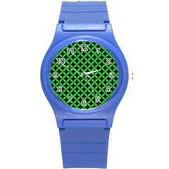 Circles3 Black Marble & Green Colored Pencil Round Plastic Sport Watch (s)
