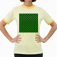Circles3 Black Marble & Green Colored Pencil (r) Women s Fitted Ringer T Shirts