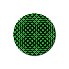 Circles3 Black Marble & Green Colored Pencil (r) Rubber Coaster (round)