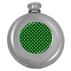 Circles3 Black Marble & Green Colored Pencil (r) Round Hip Flask (5 Oz)