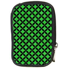 Circles3 Black Marble & Green Colored Pencil (r) Compact Camera Cases