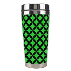 Circles3 Black Marble & Green Colored Pencil (r) Stainless Steel Travel Tumblers