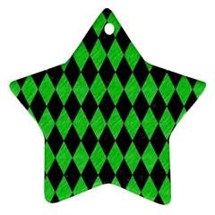 Diamond1 Black Marble & Green Colored Pencil Ornament (star)