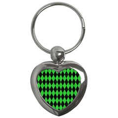 Diamond1 Black Marble & Green Colored Pencil Key Chains (heart)
