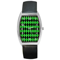Diamond1 Black Marble & Green Colored Pencil Barrel Style Metal Watch