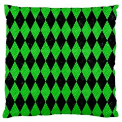 Diamond1 Black Marble & Green Colored Pencil Large Cushion Case (one Side)