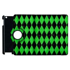 Diamond1 Black Marble & Green Colored Pencil Apple Ipad 3/4 Flip 360 Case