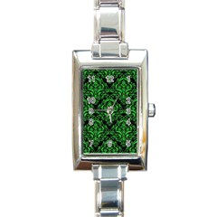 Damask1 Black Marble & Green Colored Pencil Rectangle Italian Charm Watch