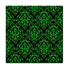 Damask1 Black Marble & Green Colored Pencil Tile Coasters
