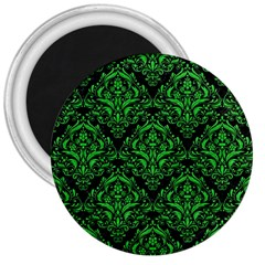 Damask1 Black Marble & Green Colored Pencil 3  Magnets
