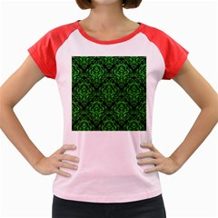 Damask1 Black Marble & Green Colored Pencil Women s Cap Sleeve T Shirt