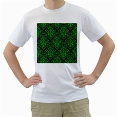 Damask1 Black Marble & Green Colored Pencil Men s T Shirt (white) (two Sided)