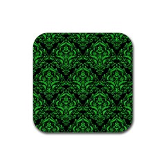 Damask1 Black Marble & Green Colored Pencil Rubber Coaster (square)