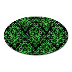 Damask1 Black Marble & Green Colored Pencil Oval Magnet