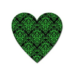 Damask1 Black Marble & Green Colored Pencil Heart Magnet