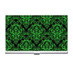 Damask1 Black Marble & Green Colored Pencil Business Card Holders